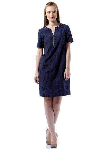 Asymmetry Fermuarlı Desenli Kısa Elbise Saks